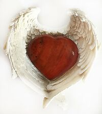 REIKI ENERGY CHARGED RED JASPER CRYSTAL HEART IN ANGEL WINGS DISH GIFT WRAPPED