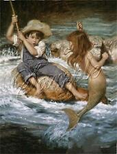 BOY FISHING catch LITTLE MERMAID Children Child fish rod CANVAS ART PRINT