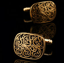 New Men's  Wedding Party Gift Gold Plated Vintage Cuff Link Cufflinks