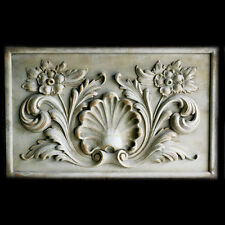Renaissance Shell with Flowers Decorative Wall Relief Sculpture Plaque