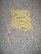 AMERICAN EAGLE Yellow Orange Blue Stripe Ruche Tie Side Stretch Tube Top S