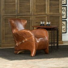 31' club Chair Italian saddle leather brown distressed hand made spectacular