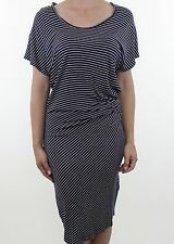 GAP navy blue nautical white stripe ruched jersey dress size M 12 euro 40