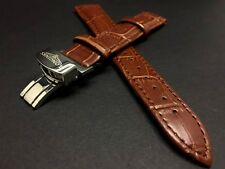 18MM Brown Longines Genuine Leather Strap Stainless Steel Silver Plated Buckle