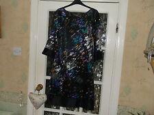 ladies dress M&S PORTFOLIO shiny black purple green mix 3/4 slvs knee lngt sz 10