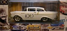 M2MACHINES 1:64 SCALE DIECAST METAL WHITE 1957 CHEVROLET 150 SEDAN CHASE CAR