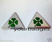 NEW Small Brushed Aluminium Cloverleaf Car Badge x2 Alfa Romeo