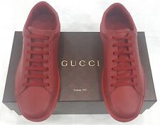 NWB GUCCI  LEATHER SNEAKERS WITH AYERS DETAIL IN RED SIZE 9 / UK 9.5/ USA 10