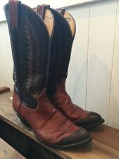Tony Lama Vintage Cowboy Boots Lizard Skin Whip Stitch Leather Point Toe MENS 9