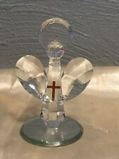 "Miniature Clear Lead Crystal Angel with Halo on Mirror Base 3.5""  Figurine nwt"
