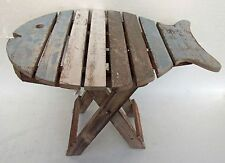 Unusual Folding Rustic Table Hand Made Blue,White & Grey Fish Shabby chic Table