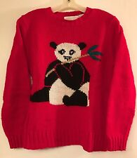 Vintage Tacky/ Ugly/ Cute Essential's Panda Christmas Sweater Women's (Small)