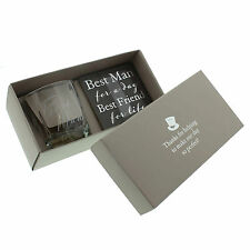 AMORE BEST MAN GIFT SET WHISKEY GLASS & COASTER SET WEDDING FAVOURS GIFTS