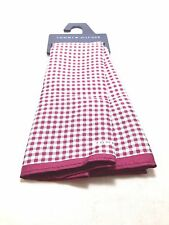 $95 TOMMY HILFIGER Men's RED WHITE CHECK HANDKERCHIEF DRESS SILK POCKET SQUARE