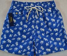 Polo Ralph Lauren Swim Shorts Swimming Trunk Blue Elephant Print L Large NWT