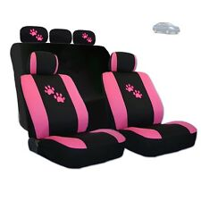 New 2 Tone Front and Rear Seat Covers with Pink Paws Logo Set For Nissan