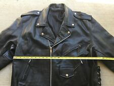 Vintage Men Motorcycle Leather Jacket XLarge Walking Dead Negan Biker XL Mad Max