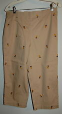 Womens Capri Pants WHITE STAG Tan Beige Embroidered PINEAPPLE Size 6