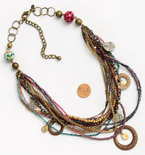 Chico's Signed Necklace Tri Gold Silver Bronze Tone Multi Bead Disk Flower Ring