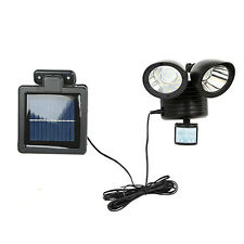 New Solar Power Motion Sensor light 22 LED Dual Head Outdoor Black