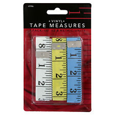 """Junipers Soft Vinyl 120"""" Sewing Tailoring Craft Tape Measure Assorted Pack of 3"""
