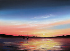 SARAH FEATHERSTONE ORIGINAL SIGNED CANVAS OIL PAINTING, SETTING SUN, SEA, BOATS