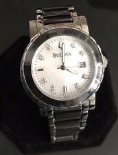 Ladies Bulova Highbridge Nero Ceramica MOP Diamante Designer Vestito Watch 98P122