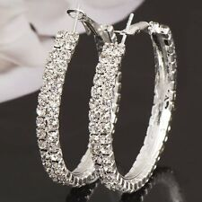 Crystal Rhinestone Women's Silver  2 Circle Hoop Earrings