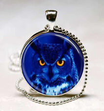 Vintage blue owl cabochon Glass Necklace Pendant Ball Chain Necklace B^7