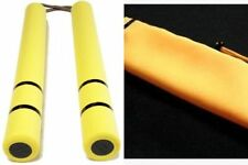 New! Bruce Lee Nunchaku Yellow Rubber Karate Stick with pouch Dragon Ninja F/S