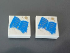 LEGO Tile 1 x 1 with Harry Potter Blue Open Book Pattern 4756 4709 4731 Lot of 2