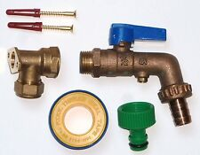 Heavy Duty Brass Lever Outside Tap Kit With DCV, Wall Plate And Hose Fitting