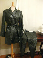 VERICCI Silver/Gray/Green ton  Leather Jacket & Pantsuit USA women's M stunning