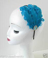 Teal Blue Feather Headpiece Fascinator Silver Flapper Vintage 1920s Headband O93