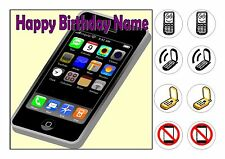 "MOBILE PHONE PHONES  CAKE TOPPER SQUARE EDIBLE ICED ICING 7.5""+8 CUPCAKE TOPPERS"
