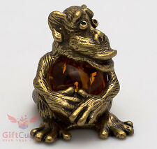 Russian Solid Brass Amber Figurine Monkey w amber belly Totem talisman IronWork