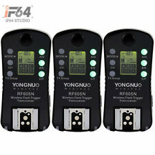 3x Yongnuo Wireless Flash Trigger Transceiver RF-605N LCD For Nikon RF 603 602