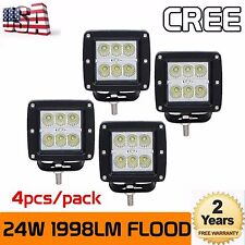 4X 3inch 24W Cree LED Flood Cube Work Lights Driving Pods Off-road Atv Ute Lamp