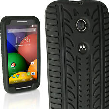 Black Tyre Silicone Gel Skin Case for Motorola Moto E XT1021 Rubber Cover Bumper