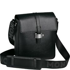 $1600 MONTBLANC MEISTERSTUCK BLACK LEATHER TRAVEL MINI MESSENGER BRIEFCASE BAG