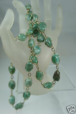 VINTAGE NECKLACE JADE GREEN SERPENTINE BEAD NUGGETS GOLD TONE