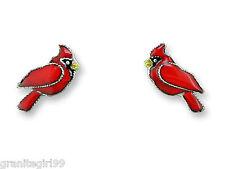 Red Cardinal Bird Stud Earrings Zarah 925 Sterling Silver Enamel Artisan