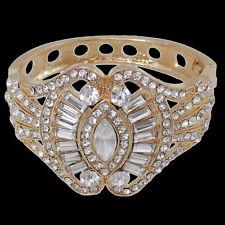 Luxury Art Deco Bridal Bangle Cuff Bracelet Clear Austrian Crystal Gold Tone