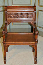Antique French Gothic Arm Chair with Carved Faces Oak 19th Century