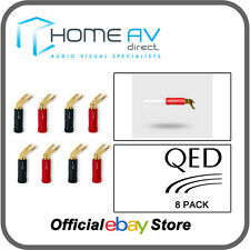 QED Screwloc ABS 24k Gold Plated 6mm - 10mm Duo Spade Plugs - 8 Pack | QE1890