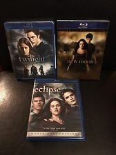 Twilight Blu Ray 3 Movie Set Twilight, New Moon (Ultimate Fan Edition) & Eclipse