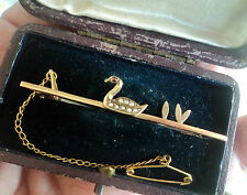 WOW 9ct Gold SWAN Brooch + Garnet & Pearls 1920/30s + Safety Chain & Vintage Box