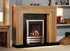 GAS OAK SURROUND BLACK MARBLE GRANITE MODERN CHROME FIRE FIREPLACE - LARGE 54""