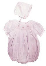 Girls Pink Preemie Smocked Bubble and Bonnet by Petit Ami NWT