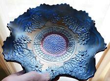 CARNIVAL GLASS BOWL, FENTON USA IN ORANGE TREE & BEARDED BERRY PATTERN, BLUE